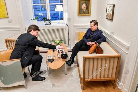 Moderate Party leader Ulf Kristersson (R) meets with the Speaker of the parliament  Andreas Norlen, in Stockholm, Sweden, 16 January 2019. The Speaker of the Swedish Parliament Riksdagen will present on the day a proposal to the Riksdag for a candidate for Prime Minister.