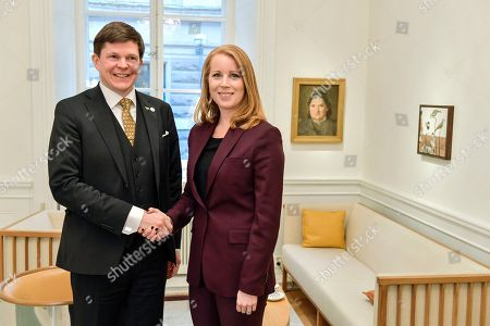 Center party leader Annie Loof (R) meets with the Speaker of the parliament Andreas Norlen, in Stockholm, Sweden, 16 January 2019. The Speaker of the Swedish Parliament Riksdagen will present on the day a proposal to the Riksdag for a candidate for Prime Minister.