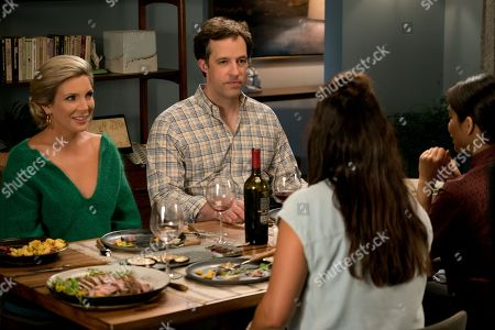 June Diane Raphael as Brianna Hanson and Peter Cambor as Barry