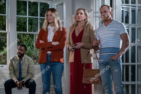 Baron Vaughn as Nwabudike Bergstein, Brooklyn Decker as Mallory Hanson, June Diane Raphael as Brianna Hanson and Ethan Embry as Coyote Bergstein
