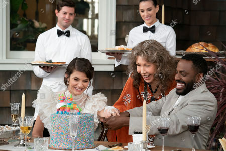 Lindsey Kraft as Allison, Lily Tomlin as Frankie Bergstein and Baron Vaughn as Nwabudike Bergstein