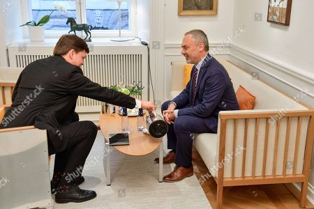 Liberal Party leader Jan Bjorklund (R) meets with the Speaker of the parliament Andreas Norlen, in Stockholm, Sweden, 16 January 2019. The Speaker of the Swedish Parliament Riksdagen will present on the day a proposal to the Riksdag for a candidate for Prime Minister.