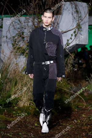 725be2f8cbc0 A model presents a creation from the Fall Winter 2019 2020 Men s collection  by
