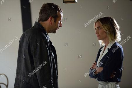 Chris O'Dowd as Miles Daly and Megan Stevenson as April Quinn