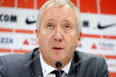 Stock Image of AS Monaco's vice president Vadim Vasilyev attends a press conference during the official presentation of the new players at Louis II stadium in Monaco, 16 January 2019.