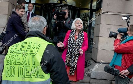 A Brexit supporter argues with Member of Parliament for Mitcham and Morden Siobhain McDonagh (centre) outside Portcullis House