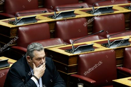 Stock Photo of Former Greek Defense Minister and former partner of the government coalition, Panos Kammenos, attends the debate on the vote of confidence in the government, in the parliament's plenum, in Athens, Greece, 16 January 2019. Greek deputies will be called to give their vote of confidence in the government on 16 January midnight, after a two-day debate in parliament.