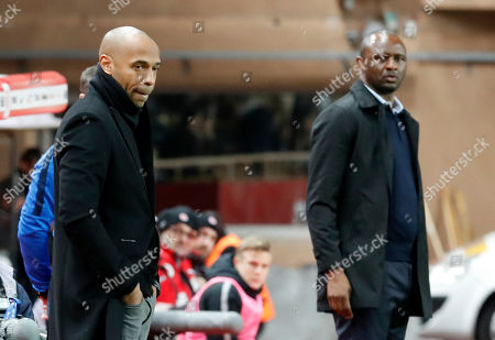 AS Monaco's French head coach Thierry Henry (L) and OGC Nice French head coach Patrick Vieira (R) attend the French Ligue 1 soccer match, AS Monaco vs OGC Nice, at Stade Louis II, in Monaco, 16 January 2019.