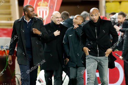 OGC Nice French head coach Patrick Vieira (L) and AS Monaco's French head coach Thierry Henry (R) arrive at the French Ligue 1 soccer match, AS Monaco vs OGC Nice, at Stade Louis II, in Monaco, 16 January 2019.