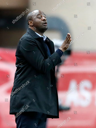 OGC Nice French head coach Patrick Vieira gestures during the French Ligue 1 soccer match, AS Monaco vs Angers SCO, at Stade Louis II, in Monaco, 25 September 2018.