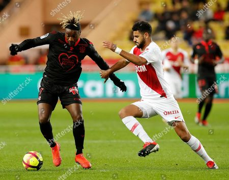 Youssef Ait-Bennasser (R) of AS Monaco and Allan Saint Maximin (L) of OGC Nice in action during the French Ligue 1 soccer match, AS Monaco vs OGC Nice, at Stade Louis II, in Monaco, 16 January 2019.