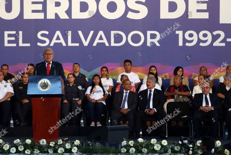 Salvadorean President, Salvador Sanchez Ceren, speaks during the commemoration of the 27 anniversary of the signing of the Peace Agreement in San Salvador, El Salvador, on 16 January 2019. Salvadorean Government commemorate the signing of the Peace Agreement on 1992, that put an end to 12 years of civil war.