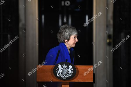 Britain's Prime Minister Theresa May makes a statement at Downing Street in London, Britain 16 January 2019. She won a Vote of no confidence in the government brought about by Leader of the Opposition Jeremy Corbyn after she lost the parliamentary vote on the EU withdrawal agreement.