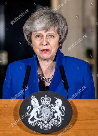Prime Minister Theresa May delivers a statement about Brexit outside 10 Downing Street.