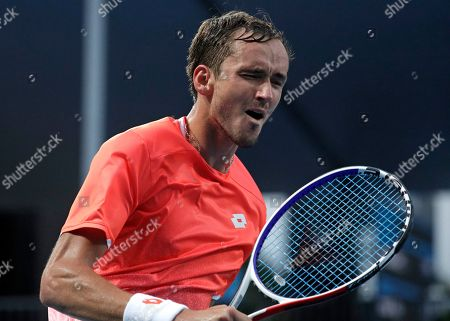 Russia's Daiil Medvedev reacts after defeating United States' Ryan Harrison in their second round match at the Australian Open tennis championships in Melbourne, Australia