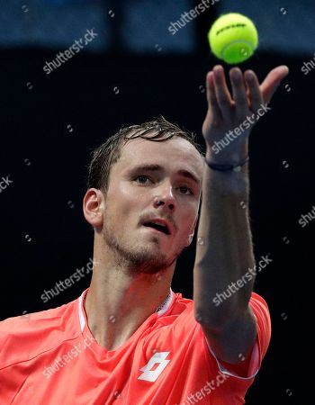 Russia's Daiil Medvedev serves to United States' Ryan Harrison during their second round match at the Australian Open tennis championships in Melbourne, Australia
