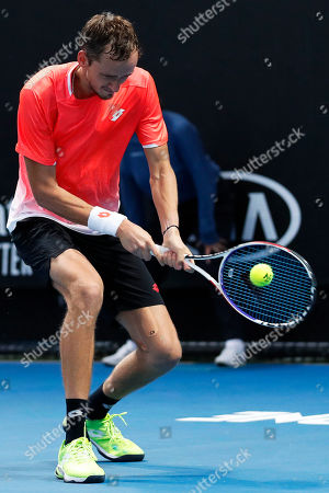 Daniil Medvedev of Russia in action during his men's singles second round match against Ryan Harrison of the USA at the Australian Open Grand Slam tennis tournament in Melbourne, Australia, 17 January 2019.