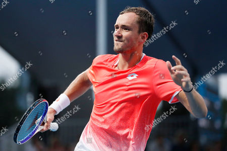 Daniil Medvedev of Russia celebrates after winning during his men's singles second round match against Ryan Harrison of the USA at the Australian Open Grand Slam tennis tournament in Melbourne, Australia, 17 January 2019.