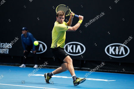 Ryan Harrison of the USA in action during his men's singles second round match against Daniil Medvedev of Russia at the Australian Open Grand Slam tennis tournament in Melbourne, Australia, 17 January 2019.