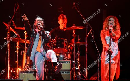 """Miguel, Nikka Costa. Singers Miguel, left, and Nikka Costa perform together during """"I Am The Highway: A Tribute to Chris Cornell"""" at The Forum, in Inglewood, Calif"""