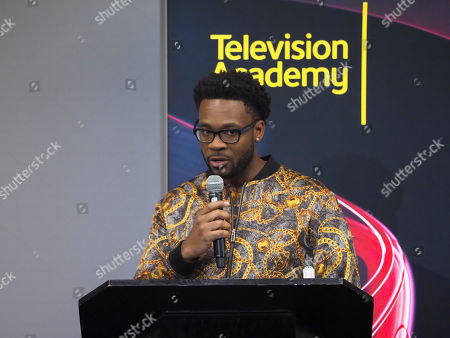 Jonathan Harris participates in the reading of his new teleplay during the Young Writers to Watch Showcase at the Television Academy's Saban Media Center on in North Hollywood, Calif