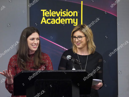 Stock Photo of Sarah-Raquel Jimenez, Jennie Wolfgram. Sarah-Raquel Jimenez and Jennie Wolfgram participate in the reading of their new teleplay during the Young Writers to Watch Showcase at the Television Academy's Saban Media Center on in North Hollywood, Calif