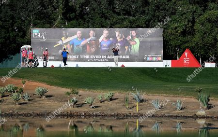 Pablo Larrazabal of Spain tees off at the 12th hole in round two of the Abu Dhabi Championship golf tournament in Abu Dhabi, United Arab Emirates