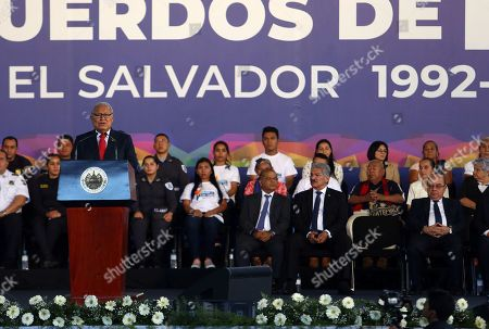 Salvadoran President Salvador Sanchez Ceren (L) speaks during the commemoration of the 27th anniversary of the signing of the Peace Accords in San Salvador, El Salvador, 16 January 2018. The Salvadoran Government commemorated the 27th anniversary of the signing of the Peace Accords in the castle of Chapultepec (Mexico) in 1992, which put an end to 12 years of civil war.