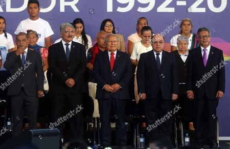 Stock Photo of (L-R) Salvadoran Vice President Oscar Ortiz, President of Parliament Norman Quijano, President of El Salvador Salvador Sanchez Ceren, President of the Supreme Court Oscar Pineda, and the Chancellor Carlos Castaneda participate in the commemoration of the 27th anniversary of the signing of the Peace Accords in San Salvador, El Salvador, 16 January 2018. The Salvadoran Government commemorated the 27th anniversary of the signing of the Peace Accords in the castle of Chapultepec (Mexico) in 1992, which put an end to 12 years of civil war.