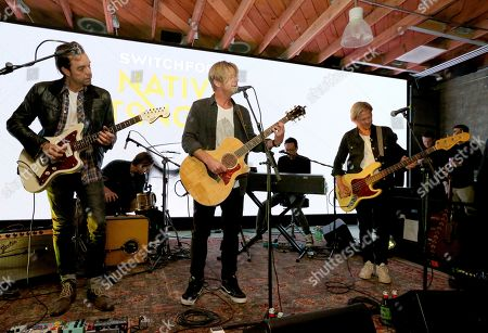 Chad Butler, Drew Shirley, Jerome Fontamillas, Jon Foreman, Tim Foreman. Drew Shirley, from left, Chad Butler, Jon Foreman, Jerome Fontamillas and Tim Foreman of Switchfoot, perform at their album release at the Microsoft Lounge on in Culver City, Calif