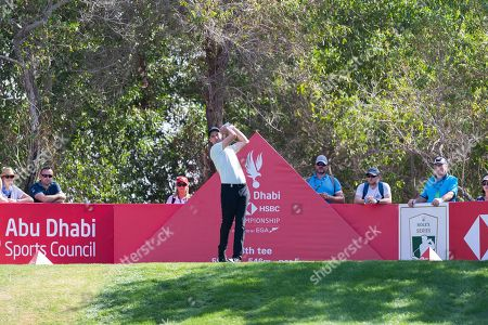 Ross Fisher of England tees off on the 8th hole, during the second round of the Abu Dhabi HSBC Golf Championship in Abu Dhabi, United Arab Emirates, 17 January 2019.