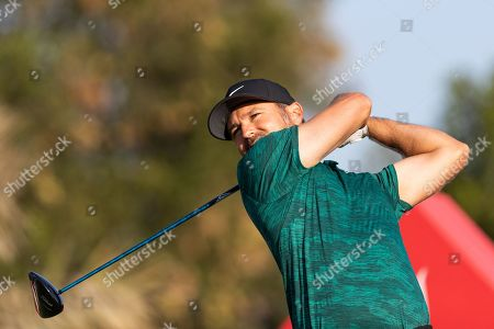Trevor Immelman of South Africa tees off on the 2nd hole, during the second round of the Abu Dhabi HSBC Golf Championship in Abu Dhabi, United Arab Emirates, 17 January 2019.