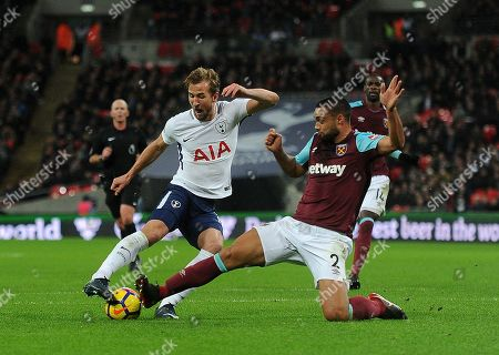 Barclays Premier League. Tottenham V West Ham. 04/01/18: Picture Kevin Quigley/daily Mail. Tottenham's Harry Kane And West Hams' Winston Reid In Action.