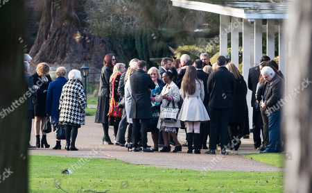 Editorial image of Max Clifford Is Cremated At Randalls Cremitorium Leatherhead 10th January 2017. Please Note Pictures Are Taken Within Crematorium Please Legal.