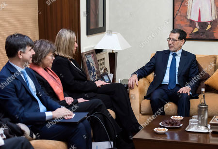 Morocco's Prime Minister Saad Eddine el-Othmani (R) meets with Federica Mogherini (3-L), Vice-President of the European Commission and High Representative of the European Union for Foreign Affairs and Security Policy, in Rabat, Morocco, 17 January 2019. Mogherini is in Rabat for discussions on the EU-Morocco fishery and agriculture agreements.