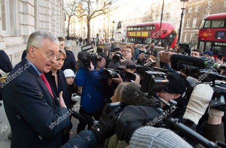 Labour MPs Yvette Cooper (R) and Hillary Benn (L) speak to journalists outside the Cabinet Office in Westminster London, Britain, 17 January 2019. British Prime Minister Theresa May is holding talks with cabinet and party leaders over Brexit.