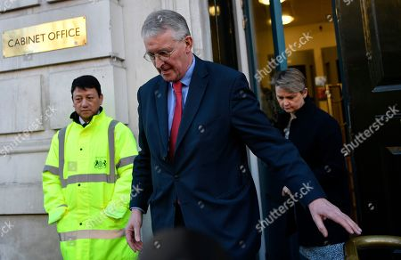 Labour MPs Hillary Benn (C) and Yvette Cooper (R) leave the Cabinet Office in Westminster London, Britain, 17 January 2019. British Prime Minister Theresa May is holding talks with cabinet and party leaders over Brexit.