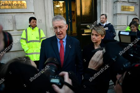 Labour MPs Hillary Benn (L) and Yvette Cooper (R) leave the Cabinet Office in Westminster London, Britain, 17 January 2019. British Prime Minister Theresa May is holding talks with cabinet and party leaders over Brexit.