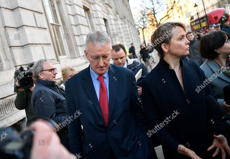 Stock Picture of Labour MPs Hillary Benn (L) and Yvette Cooper (R) leave the Cabinet Office in Westminster London, Britain, 17 January 2019. British Prime Minister Theresa May is holding talks with cabinet and party leaders over Brexit.