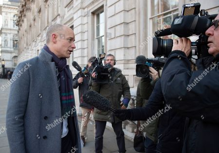 Labour MP Stephen Kinnock (L) speaks to journalists outside the Cabinet Office in Westminster London, Britain, 17 January 2019. British Prime Minister Theresa May is holding talks with cabinet and party leaders over Brexit.