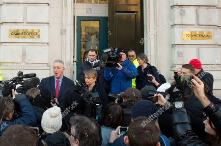 Labour MPs Yvette Cooper (C-R) and Hillary Benn (C-L) speak to journalists outside the Cabinet Office in Westminster London, Britain, 17 January 2019. British Prime Minister Theresa May is holding talks with cabinet and party leaders over Brexit.