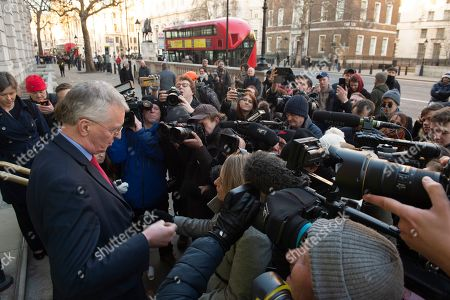 Stock Image of Labour MP Hillary Benn (L) speaks to journalists outside the Cabinet Office in Westminster London, Britain, 17 January 2019. British Prime Minister Theresa May is holding talks with cabinet and party leaders over Brexit.