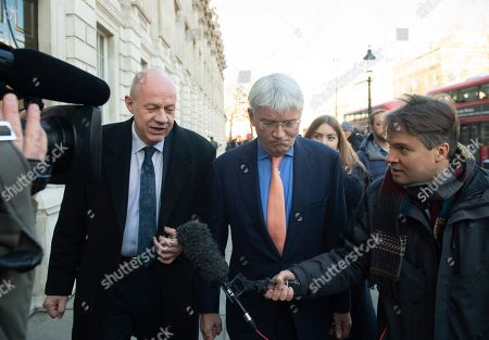 Conservatives MPs Damian Green (L) and Andrew Mitchell (C) talk to BBC Newsnight journalist Nicholas Watt (R) as they leave the Cabinet Office in Westminster London, Britain, 17 January 2019. British Prime Minister Theresa May is holding talks with cabinet and party leaders over Brexit.