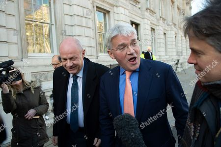 Conservatives MPs Damian Green (L) and Andrew Mitchell (R) leave the Cabinet Office in Westminster London, Britain, 17 January 2019. British Prime Minister Theresa May is holding talks with cabinet and party leaders over Brexit.