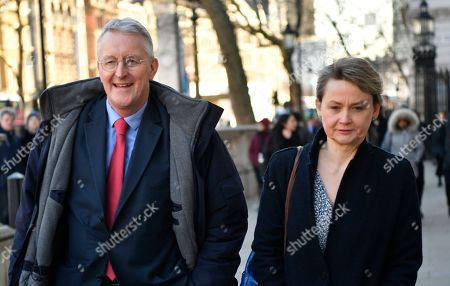 Labour MPs Yvette Cooper (R) and Hillary Benn (L) arrive to  the Cabinet Office in Westminster London, Britain, 17 January 2019. British Prime Minister Theresa May is holding talks with cabinet and party leaders over Brexit.