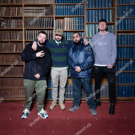 Kurupt FM cast from 'People Just Do Nothing' mockumentary - L-R Hugo Chegwin, Allan Mustafa, Asim Chaudhry, Steve Stamp