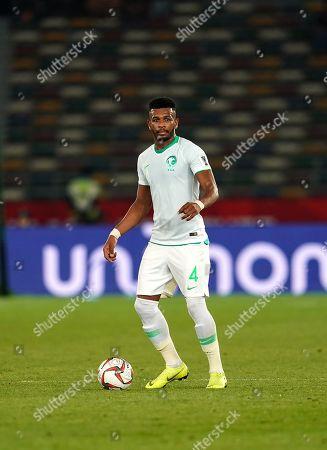 Ali Al-Bulaihi of Saudi Arabia during Saudi Arabia v Qatar at the Zayed Sports City Stadium in Abu Dhabi, United Arab Emirates, AFC Asian Cup, Asian Football championship