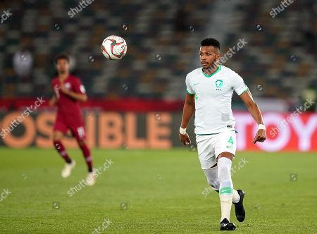 Stock Image of Ali Al-Bulaihi of Saudi Arabia during Saudi Arabia v Qatar at the Zayed Sports City Stadium in Abu Dhabi, United Arab Emirates, AFC Asian Cup, Asian Football championship