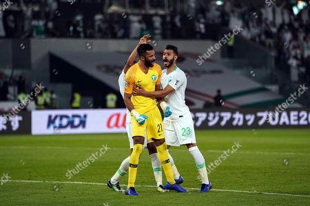 Mohammed Al-Owais of Saudi Arabia after saving a penalty during Saudi Arabia v Qatar at the Zayed Sports City Stadium in Abu Dhabi, United Arab Emirates, AFC Asian Cup, Asian Football championship