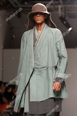 Stock Photo of A model presents a creation from the Fall/Winter 2019/2020 Men's collection by German designer Boris Bidjan Saberi during the Paris Fashion Week, in Paris, France, 17 January 2019. The presentation of the Fall/Winter 2019/20 menswear collections runs from 15 to 20 January 2019.
